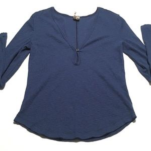 We The Free FREE PEOPLE Blue Ribbed Henley Large